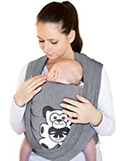 Baby Wrap Sling Carrier Newborn, 95% Cotton/5% Spandex Soft MaterialBaby Wrap Sling, Charcoal Grey - Suitable for Newborn Babies Up to 35 LBS, Perfect Baby Shower Gift, Durable - One Size Fits All