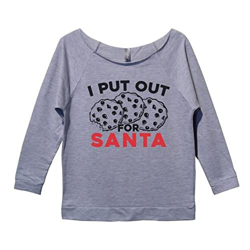 Womens Xmas 34 Sleeve I Put Out For Santa Funny Christmas Sweater