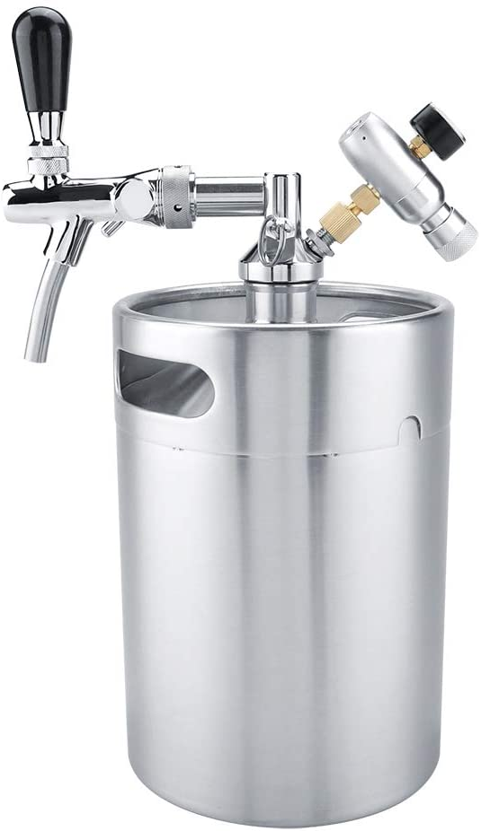 Sistema de mini barril de cerveza a presión, 5L Mini grifo de acero inoxidable Growler, Mini Keg dispensador de barril portátil, El regulador de presión de CO2 mantiene la carbonatación