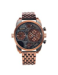 Oulm Men's Sport Outdoor Dual Time Zone Dual Japanese Movement Quartz Wirst Watches with Chronograph-Bronze