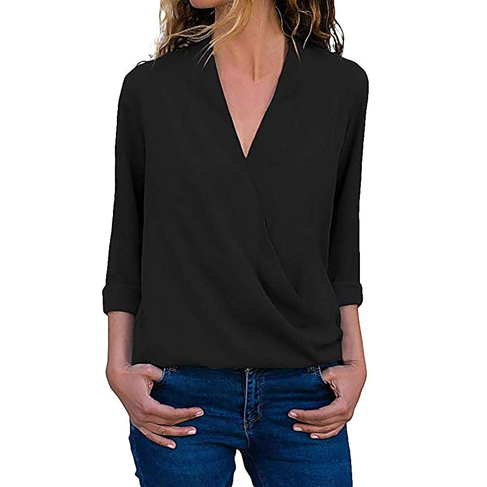 Kumike Fashion Women Tops Casual Solid Wrap V-Neck Roll Up Long Sleeve Blouse T-Shirt Tunic Clothing