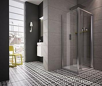 revron Bi-fold puertas de ducha cristal vidrio templado premium (760 mm): Amazon.es: Bricolaje y herramientas
