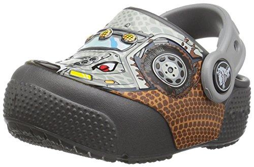 crocs Kids' Crocsfunlab Lights Clog, Monster Truck/Graphite, 3 M US Little Kid