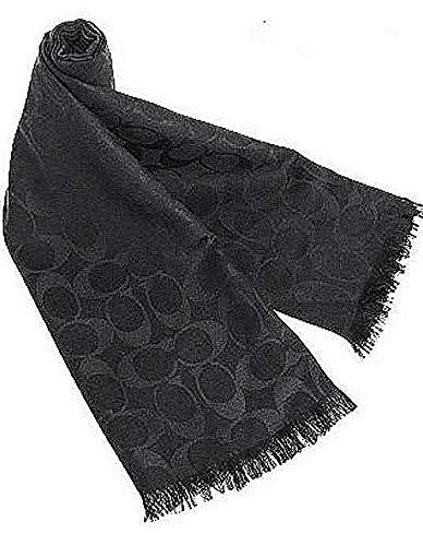 Coach Women's Signature C Wrap Scarf Wool & Silk - Black