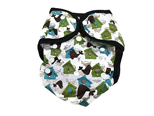 BB2 Baby One Size Printed Black Gussets Snaps Cloth Diaper Cover for Prefolds (One Size, Bird - Fitted Snappi Diapers
