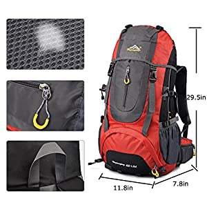 X-Freedom Men & Women Waterproof 65L Outdoor Sport Hiking Backpack Camping Travelling Climbing Knapsack Big Capacity Fishing Cycling Bag (Red)