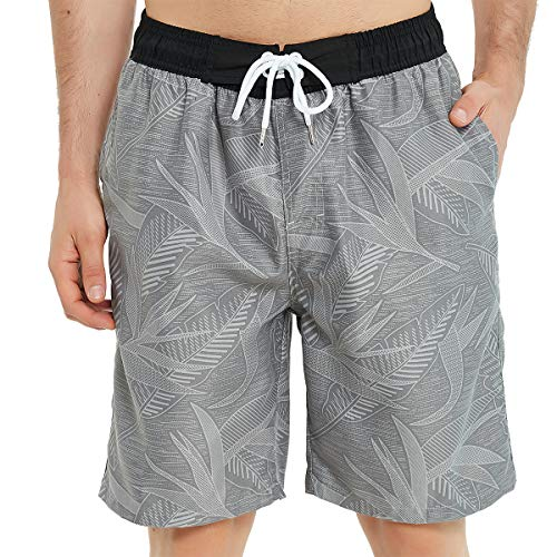 Kailua Surf Mens Swim Trunks Long, Quick Dry Mens Boardshorts, 9 Inches Inseam Mens Bathing Suits with Mesh Lining (3X, Grey Leaves)