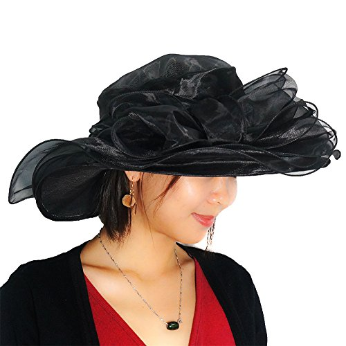June's Young Women Race Hats Organza Hat With Ruffles Feathers (Black) (Womens Fashion Derby)