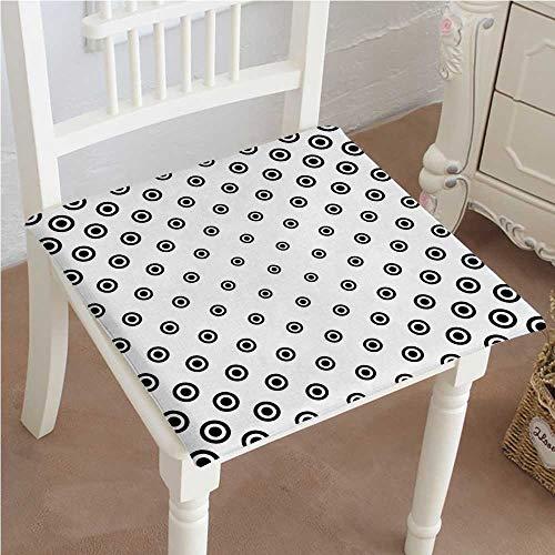 (Chair Pads Classic Design Circle Round Shaped Dots Spots Motif Simple Background Black White Cotton Canvas Futon 30