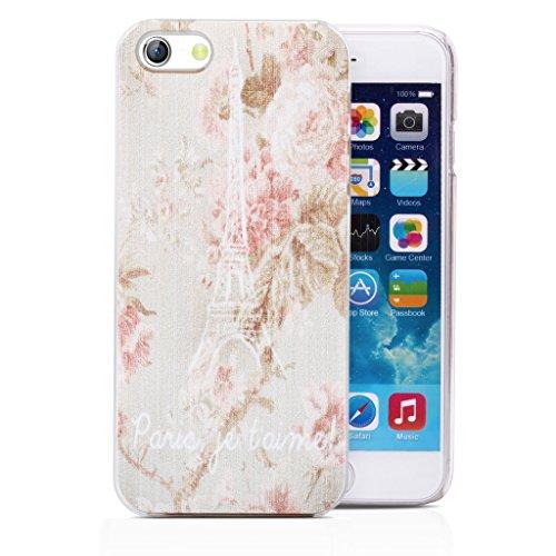 Infinite U Jewellery Tour Eiffel Fleur Motif Phone Case/Coque/Etui/Housse de Protection pour iphone 6 (4.7 pouces)