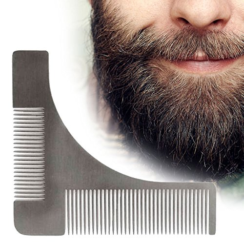Mustache Trimmers, Template Comb Beard Styling Comb Premium Handmade Anti-Static Stainless Steel Fine Beard Brush Best for Beard & Moustache Beard Shaping Tool