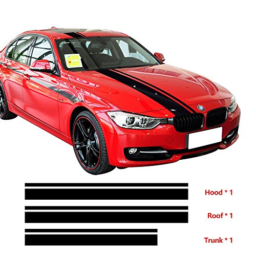 3pcs/set Hood Roof Trunk Engine Cover Top Rear Racing Stripes Vinyl Decal Sticker for BMW F30 F31 F32 F34 F36 E90 E92 E46 M3 M4 (Gloss Black) (Racing Rear Sets)