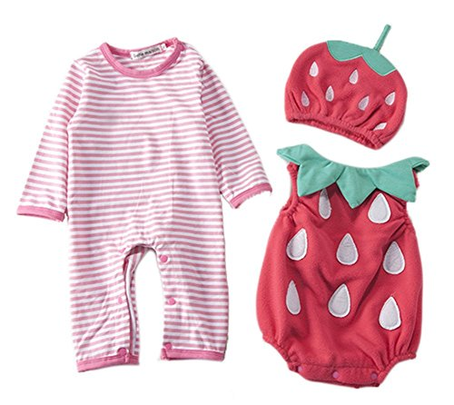 LUKYCILD Unisex Baby's Halloween Christmas Costume Romper Bodysuti Hat Set, Strawberry, 70 ()