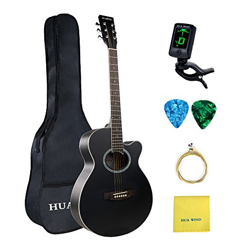 Acoustic Guitar 40 inch Basswood Cutaway Acoustic Steel Strings Guitar Starer Kit with Gig Bag, Tuner, Strings, Strap,Picks and Polishing Cloth (Black)