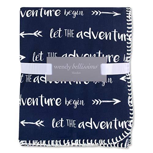 - Wendy Bellissimo Super Soft Plush Baby Blanket - Adventure in Navy + White