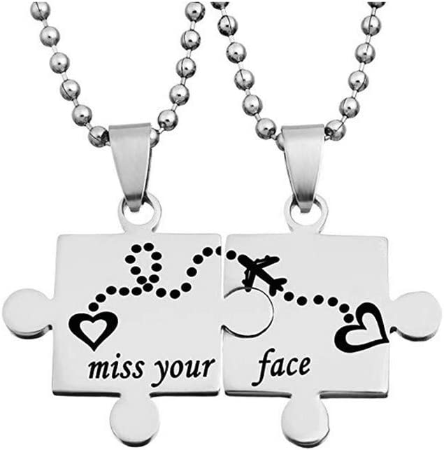 Stainless Steel Puzzle Pendant Necklace 2 Pcs,Haluoo Personalized Engraved Miss Your Face Pendant Necklace for Couples Best Friend Family Unisex Silver Fashion Ball Chain Necklace 22 Chain