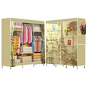 Portable Wardrobe Organizer Side Curtain Cover Eiffel Tower Print