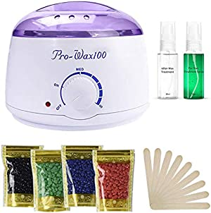 Wax Warmer, Portable Electric Hair Removal Kit for Facial &Bikini Area& Armpit- Melting Pot Hot Wax Heater Accessories Total Body Waxing Spa or Self-waxing Spa in Home for Girls & Women & Men