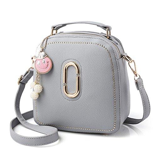 BAILIANG Womens Shoulder Bag Sac à Bandoulière Crossbody PU Métallique Mode Lightgray