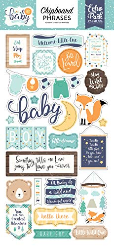 Echo Park Paper Company Hello Baby Boy 6x13 Phrases chipboard Navy, Yellow, Teal, Orange
