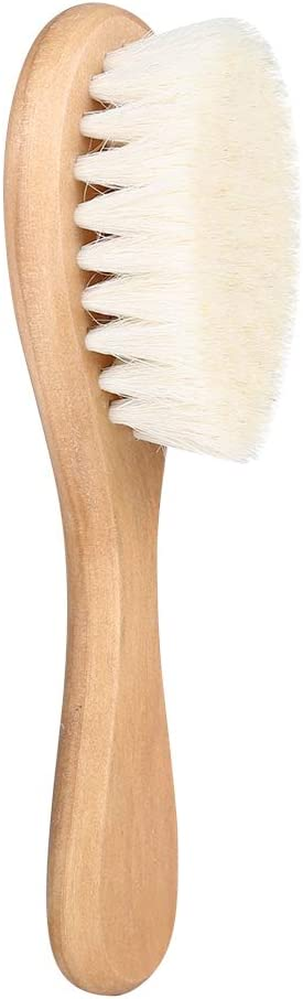 Healthy And Non-Toxic Jingyi Baby Brush,Natural Safe To Use,Soft Natural Goat Hair Baby Infant Head Massage Grooming Comb with Wooden Handle