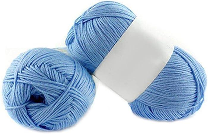 1 lana de bambú para tejer de 50 g por madeja de algodón suave de punto para bebé Amesii #14 Sky Blue: Amazon.es: Hogar