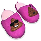 SG Footwear Girls Emoji Smiley Poop Devil Kids Scuff Slipper (S 11-12, Magenta Poo)