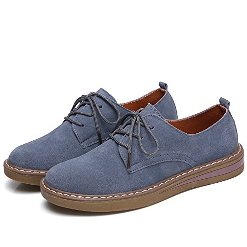 Women Casual 2018 Shoes Spring Blue Flats Round Suede Suede Lace Up Toe Leather Boat Oxford SEdS4nWrqw