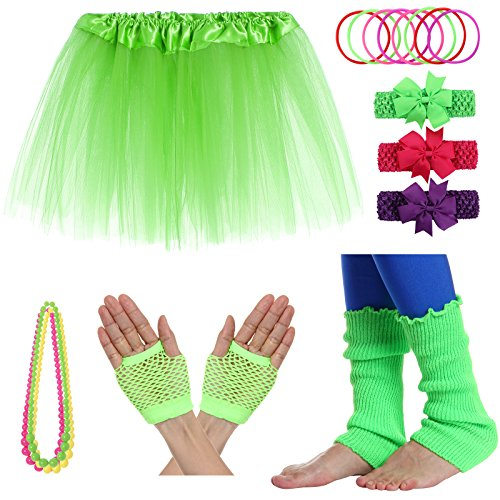 JustinCostume Girls' 80's Accessories Headwear Skirt Leg Warmers Gloves Green A