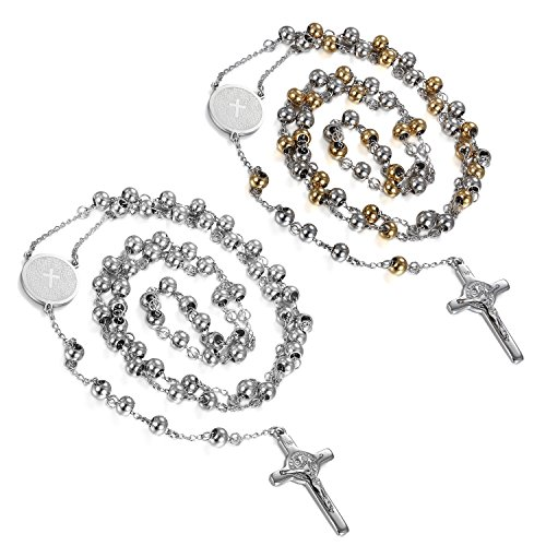 Flongo Men's Women's 2PCS Vintage Stainless Steel Jesus Christ Crucifix Cross Rosary Beads Pendant Necklace,29 inch Chain ()