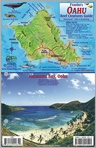 Oahu Hawaii Map & Coral Reef Creatures Guide Franko Maps Laminated Fish Card
