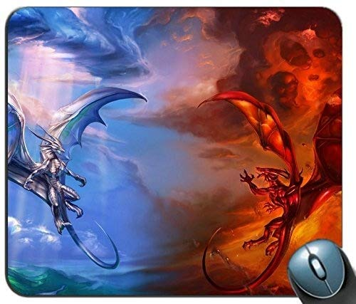 Yanteng Gaming Mouse Mat, Good Vs Bad Dragon Cojin de raton Personalizado Rectangle Mouse Pad Gaming Mouse Mat