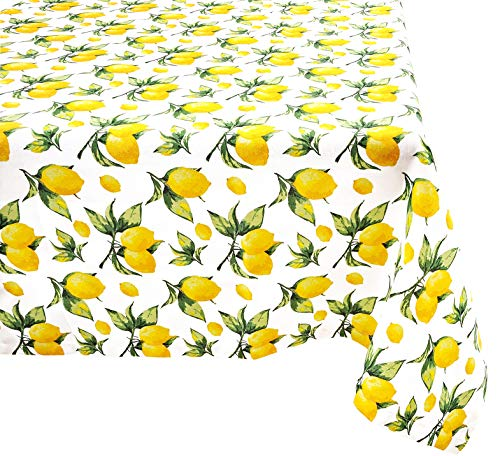 (Yourtablecloth 100% Cotton Tablecloth -for Home, Restaurants, Cafés - Be it for Everyday Dinner Picnic or Occasions Like Thanksgiving (Lemon, 52x52 Square))
