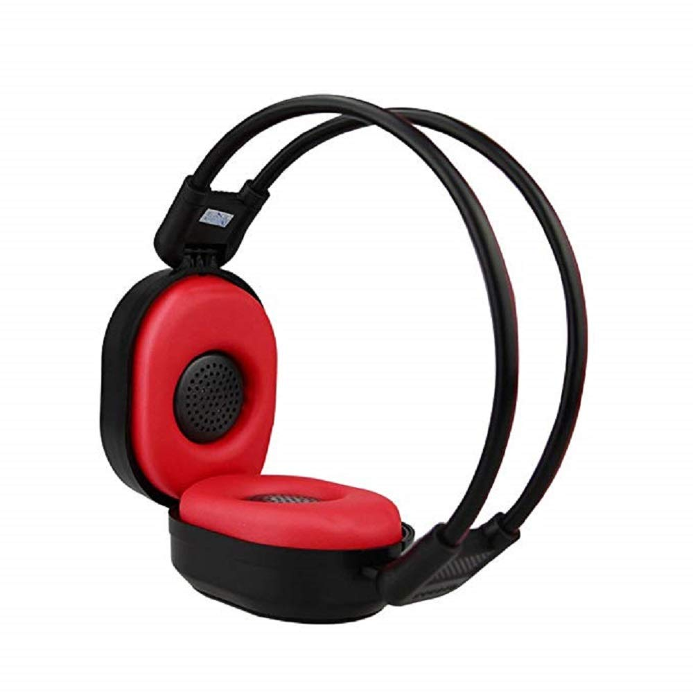 Auriculares KRISMYA Plegable Inalambrico Radio Portatil FM Stereo Headset Radio con Radio Built in (Black Red)