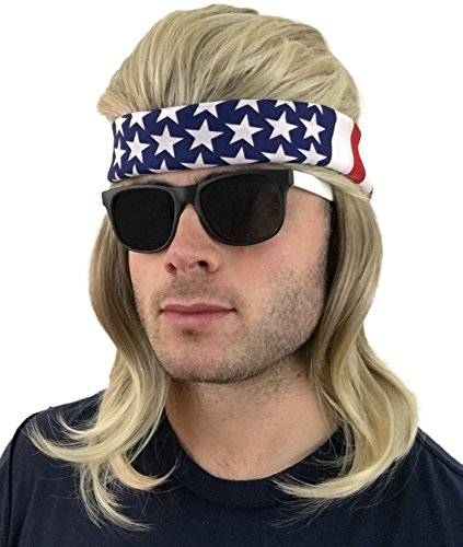 4 pc. Mullet Wig + Bandana + Sunglasses: Hillbilly Redneck Costume, Halloween 80s Wig , Mullet Wig For Men Women or Kids (Dirty Blonde Mullet Wig + USA Bandana + Black/White Sunglasses) -