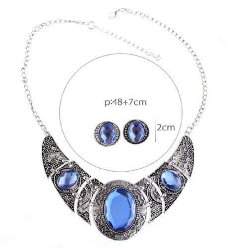 QIYUN.Z Tibet Silver Acrylic Royal Blue and Black Hollow Out Necklace Earrings Jewelry Set