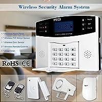 KKmoon Wireless GSM SMS Home Burglar Security Alarm System Detector Sensor Kit Remote Control 433MHz
