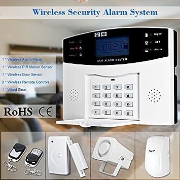 KKmoon Wireless GSM SMS Home Burglar Security Alarm System Detector Sensor  Kit Remote Control 433MHz. Amazon com  KKmoon Wireless GSM SMS Home Burglar Security Alarm