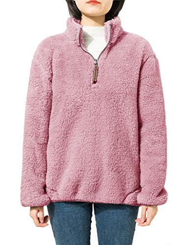 Jjyee Fleece Sherpa Pullover Womens 1/4 Zip Fleece Fuzzy Sweatshirt Reversible Pullover Long Sleeve Soft Outwear Sweater (Pink,Small) -