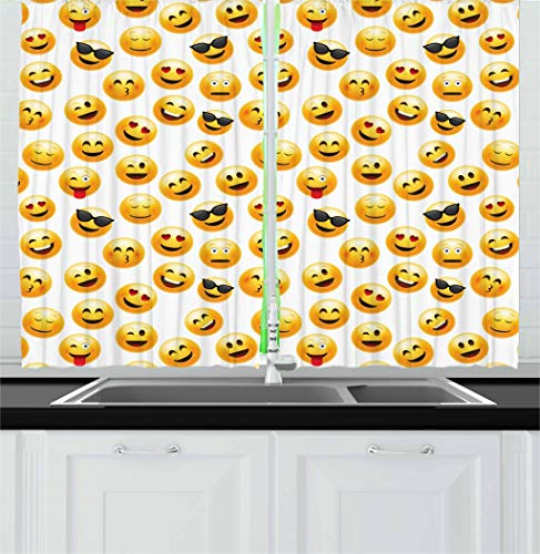 Ambesonne Emoji Kitchen Curtains, Smiley Face Character Illustration Feeling Happy Surprised Cool and in Love, Window Drapes 2 Panel Set for Kitchen Cafe, 55 W X 39 L Inches, Yellow Red Black