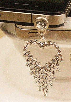 CJB Dust Plug / Earphone Jack Accessory Heart Tail for iPhone 5 All Device with 3.5mm Jack (US Seller)
