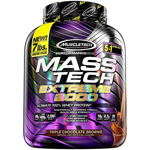 MuscleTech Mass Tech Extreme Mass Gainer Whey Protein Powder, Build Muscle Size & Strength with High-Density Clean Calories, Chocolate, 7lbs (3.2kg)