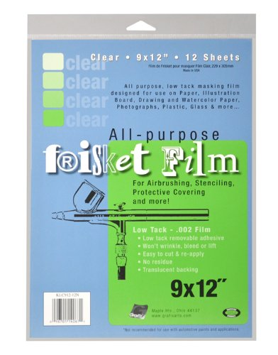 Acrylic 12n - Grafix KLC91212N All Purpose Low Tack Frisket Film 9-Inch-by-12-Inch, Clear Pack of 12