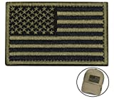 #10: Tactical Morale Patch USA Flag Embroidered American Flag Patch Hook&Loop Fastener Backing Emblem (Black+Army Green)