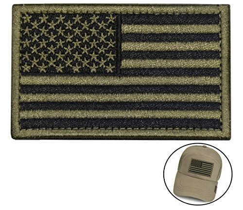 Tactical Morale Patch USA Flag Embroidered American Flag Patch Hook&Loop Fastener Backing Emblem (Black+Army Green) Summer Patch Cap