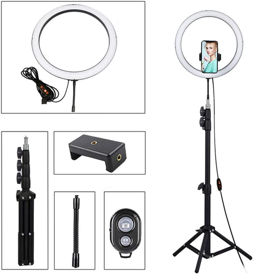 Apply to iOS//Android Remote Control ldab 12 LED Selfie Ring Light with 55 Adjustable Tripod Stand /& Phone Holder for Live Stream//Make Up//YouTube 3 Light Modes//10 Levels Brightness