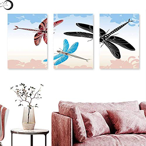 Dragonfly Wall hangings Exotic Dragonflies Flying in Cloud Sky Animal Wing Nature Illustration Triptych Wall Art Black Blue Light Pink Triptych Art Canvas W 12