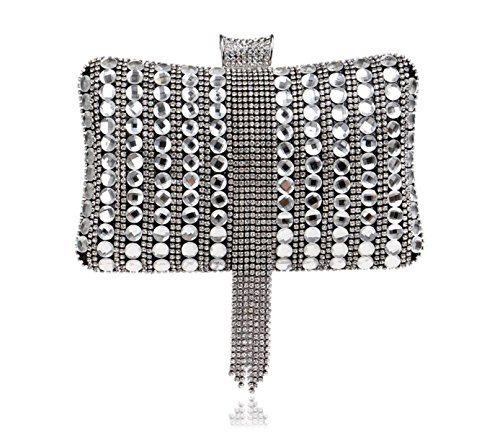 GSHGA Bolso De Tarde Del Banquete Exquisito Bolso De Diamantes Bolso De Las Mujeres,Silver Black
