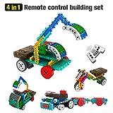 Geekper 4 en 1 kits de construcción de control remoto para niños - RC Car Machines Construction Set - Bloques de construcción Build Robot Kit (127PCS)