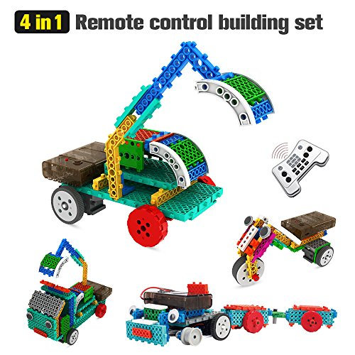 Geekper 4 in 1 Remote Control Building Kits for Kids - RC Car Machines Construction Set - Building Blocks Build Robot Kit (127PCS) (Robot Shapes Race)